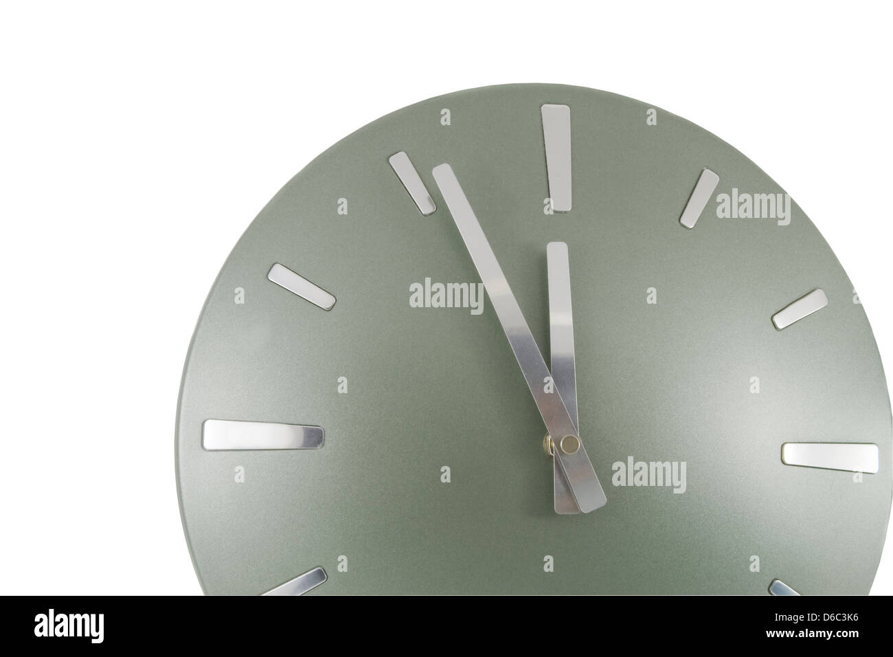 Clock (5 minutes to 12) over white - Stock Image