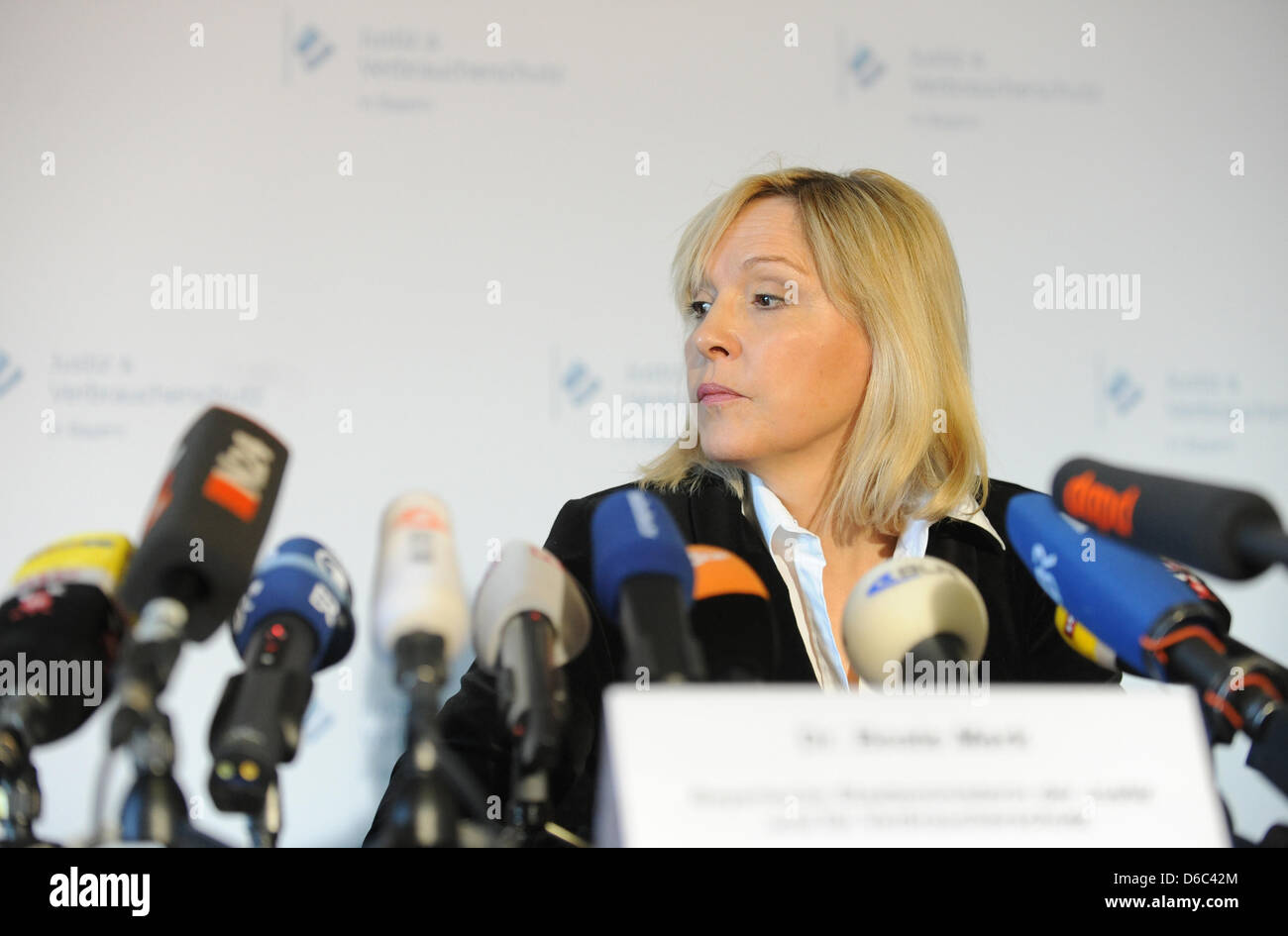 Bavarian Minister of Justice Beate Merk (CSU) is pictured during a press conference at the Palace of Justice on Stock Photo