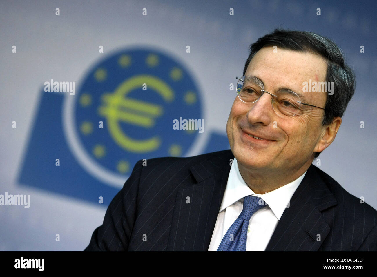 President of the European Central Bank (ECB) Mario Draghi is pictured during a press conference at the ECB's - Stock Image