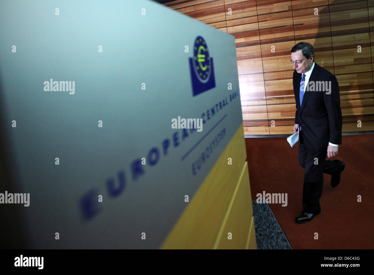 President of the European Central Bank (ECB) Mario Draghi arrives at a press conference at the ECB's headquarters - Stock Image