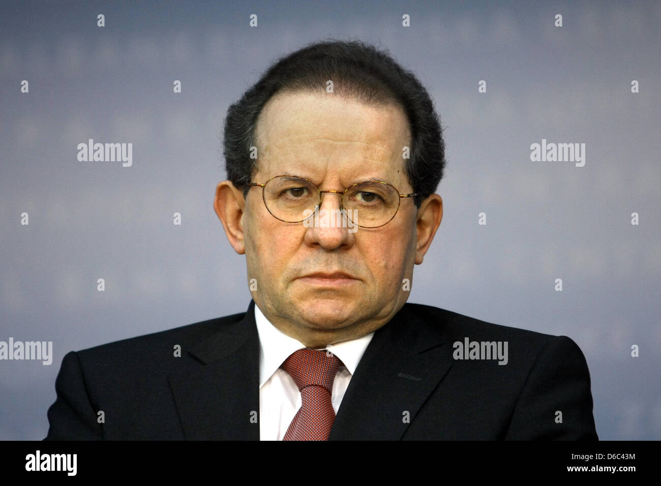 Vice President of the European Central Bank (ECB) Vitor Constancio is pictured during a press conference at the - Stock Image