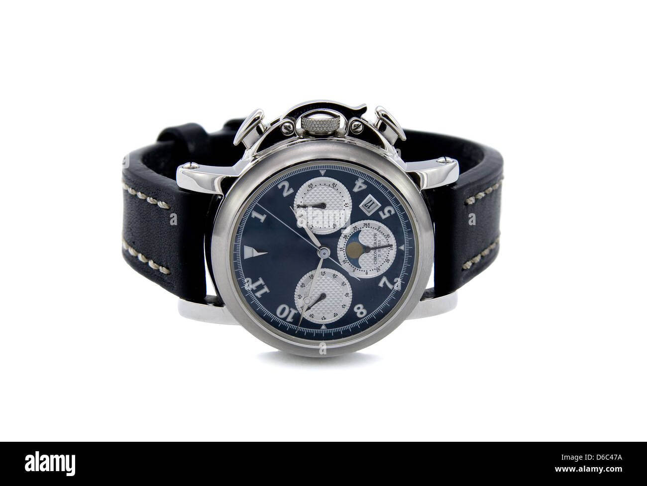 Chronograph watch isolated white background Stock Photo