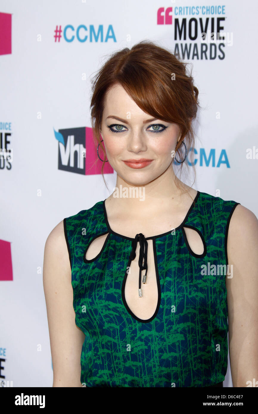 Actress Emma Stone arrives at the 17th Annual Critics' Choice Movie Awards at Hollywood Palladium in Los Angeles, - Stock Image