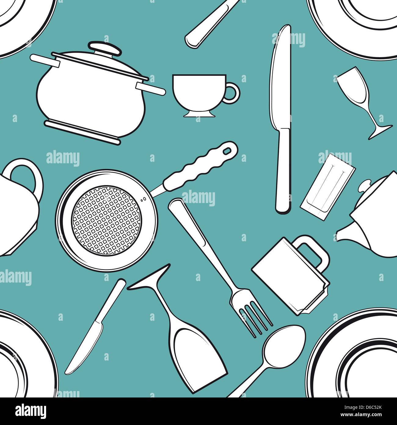 Kitchen Utensils Outline Seamless Pattern Stock Photos & Kitchen ...