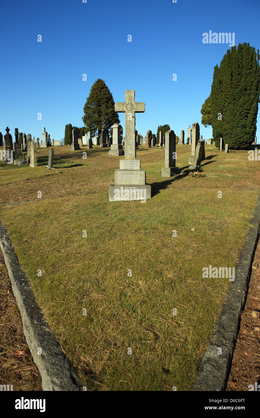 Nairn cemetery on a clear and sunny day in the Highlands of Scotland - Stock Image