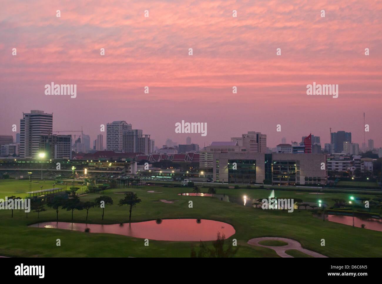 The Royal Bangkok Sports Club at sunset - Stock Image