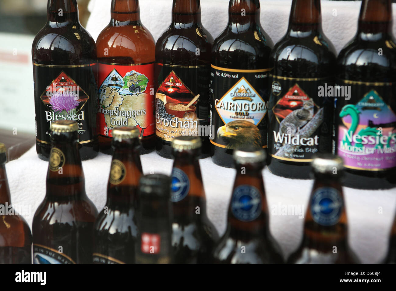 Scottish Real Ales on sale in a shop in Scotland - Stock Image