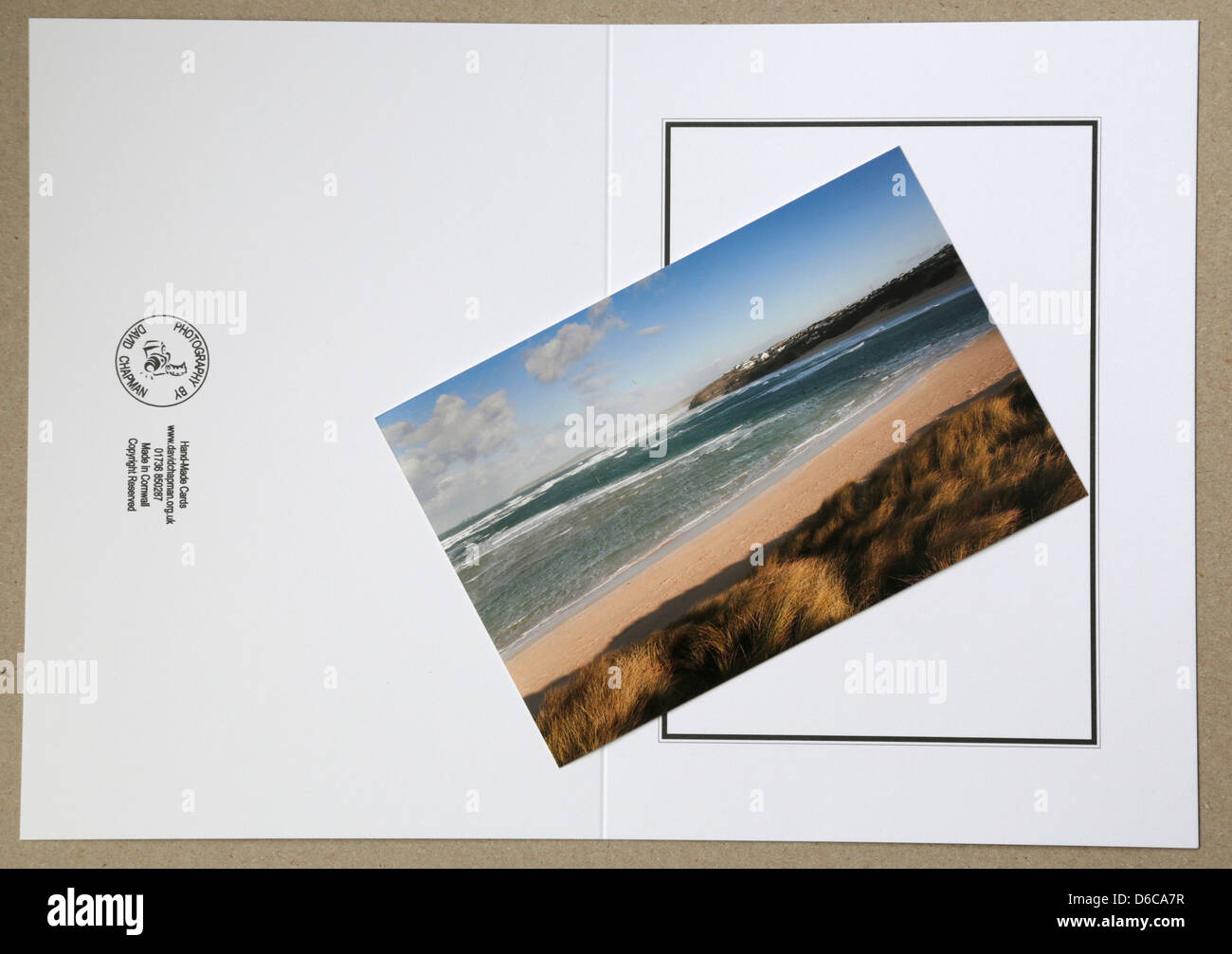 Greetings Card Ready to Make Up; Photo and Card - Stock Image
