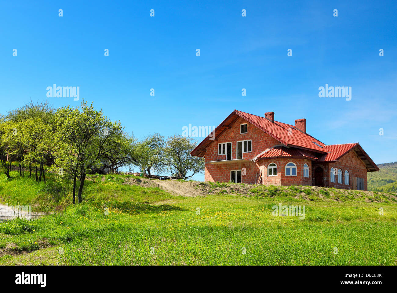 New family home in the mountain - Stock Image