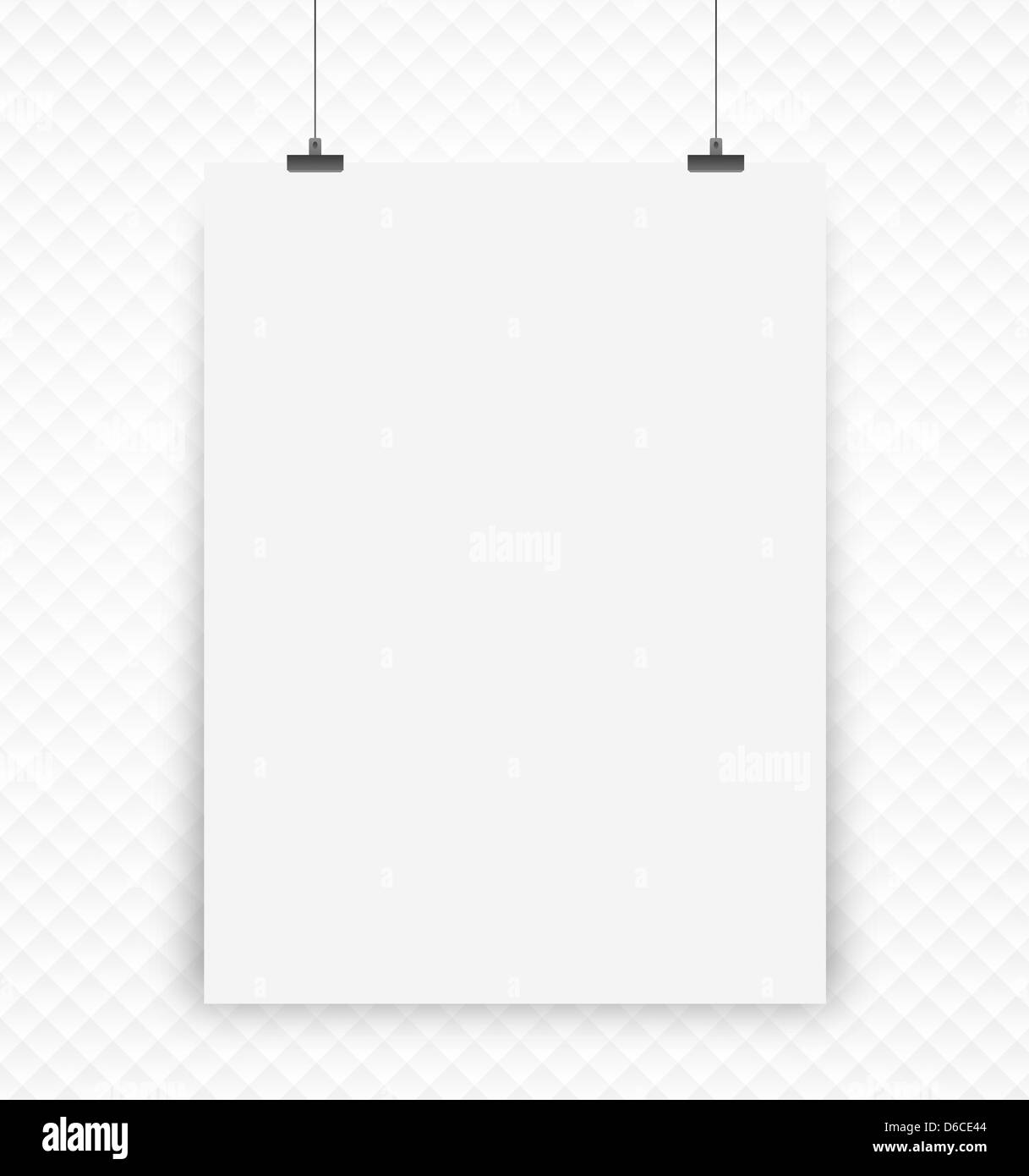 white poster on a wall - Stock Image