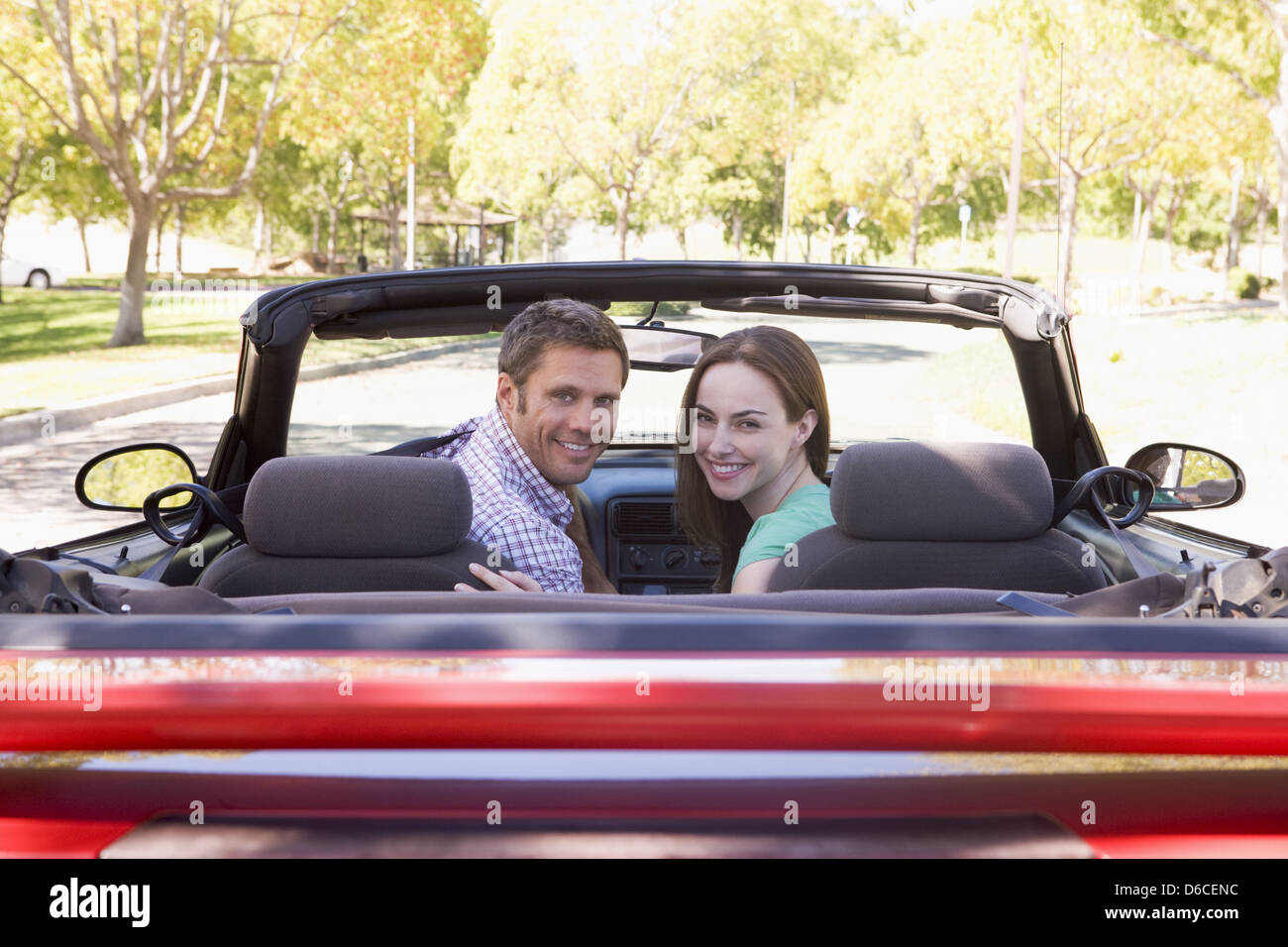 pair,road trip,car driver,convertible - Stock Image