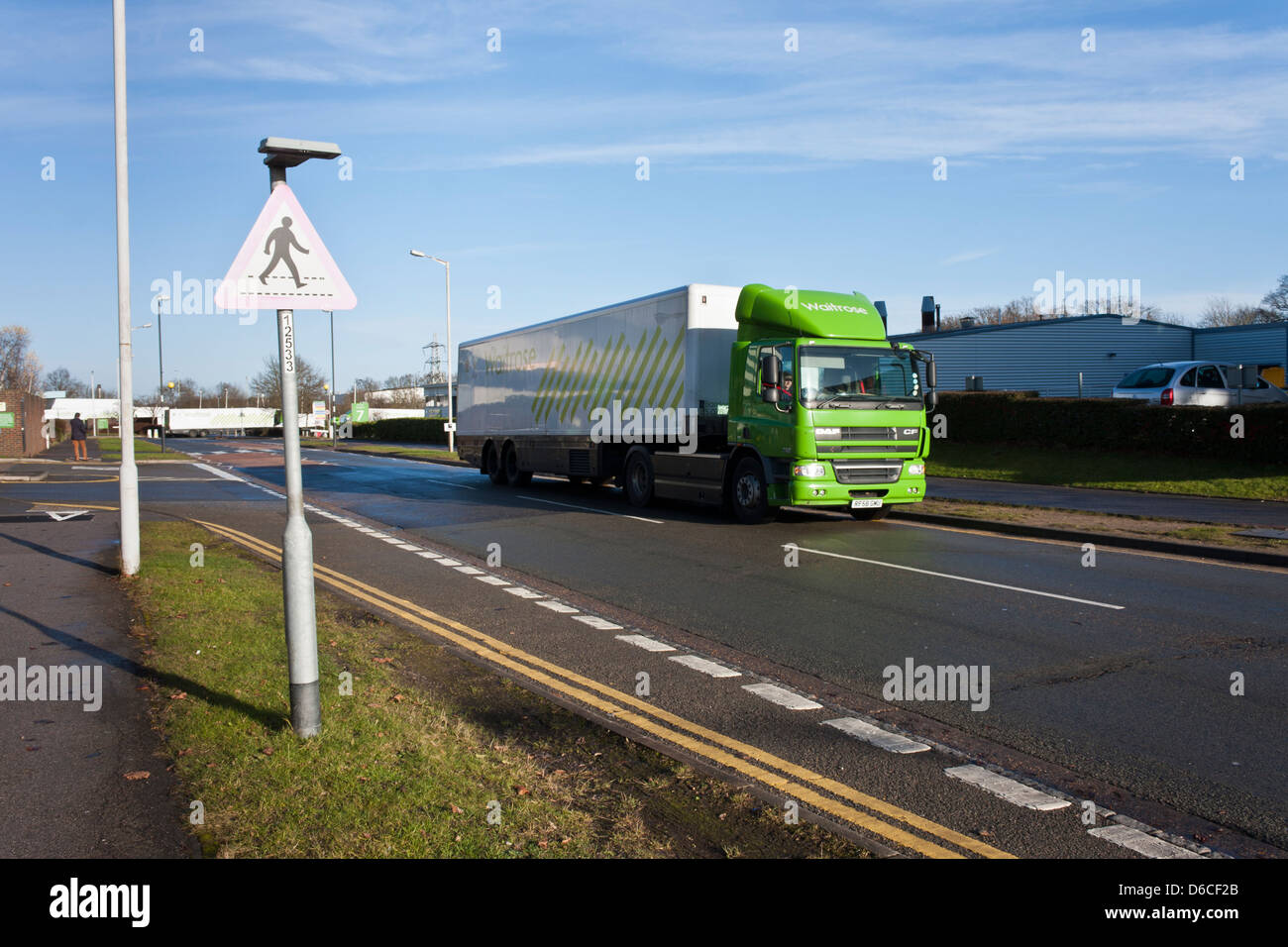 Waitrose supermarket HGV food truck on the road. Bracknell, Berkshire, England, GB, UK - Stock Image