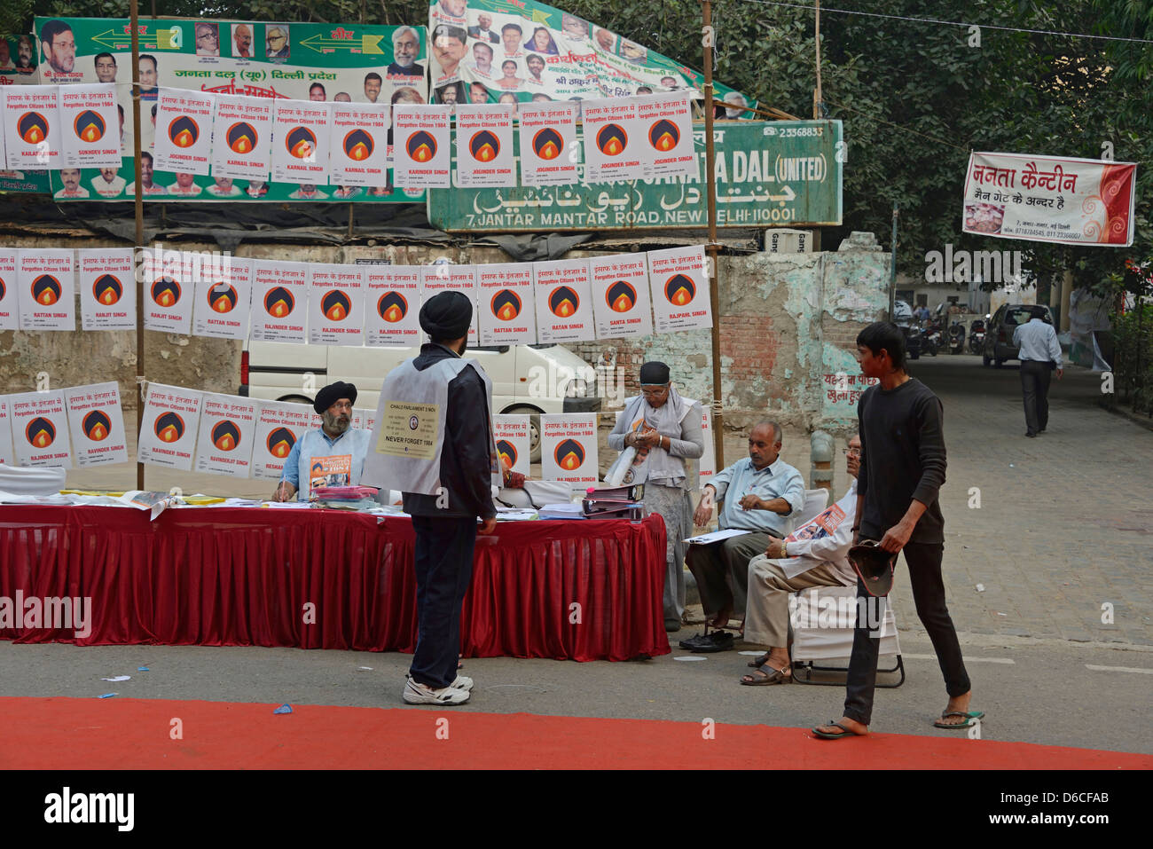 A Sikh political rally in Tolstoy Road near Conaught Place in New Delhi, India. - Stock Image