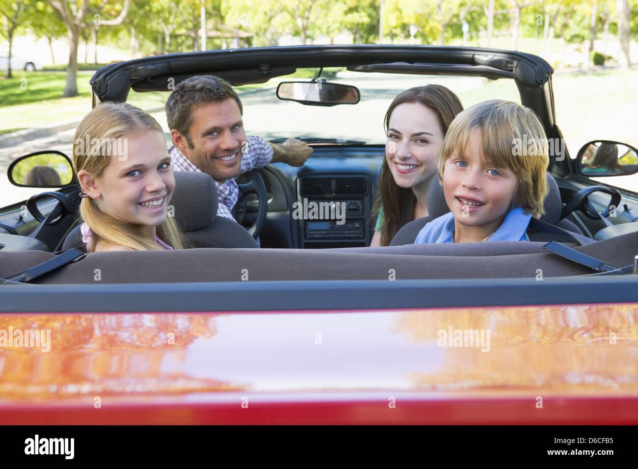 road trip,family,convertible,family outing - Stock Image