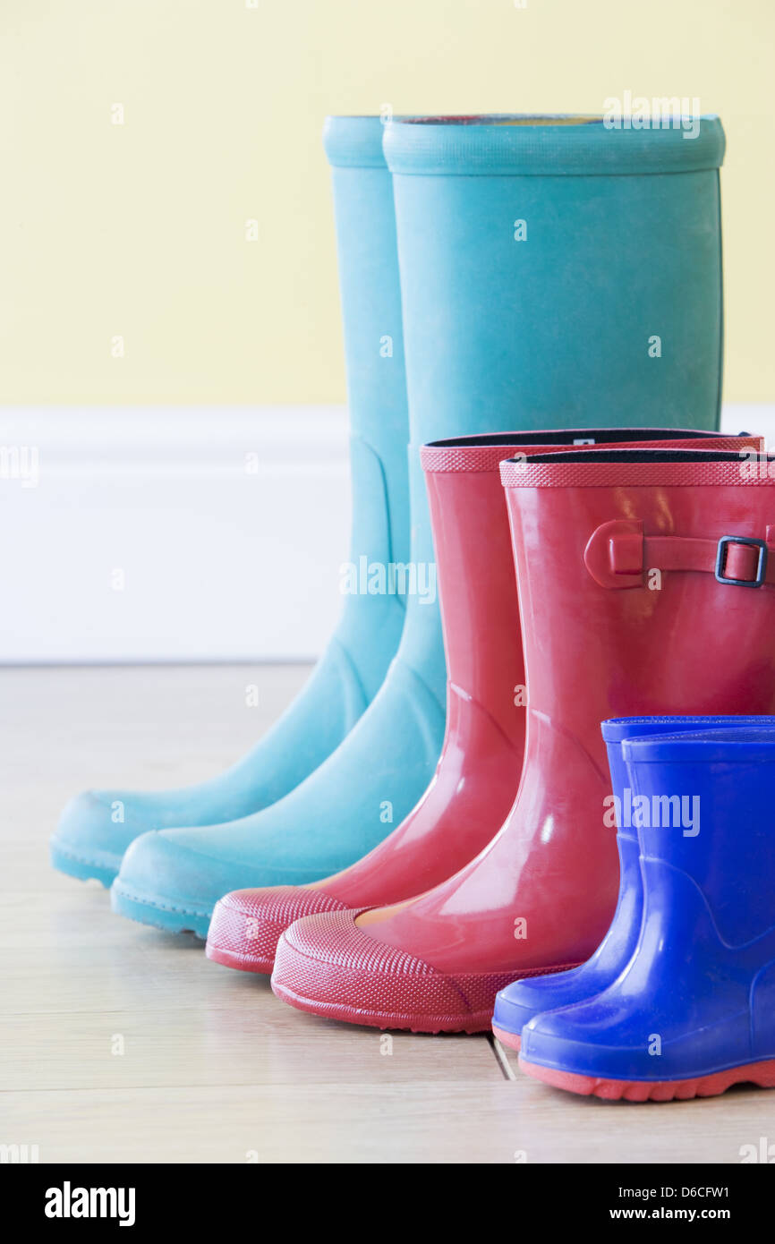in a row,family,galoshes Stock Photo
