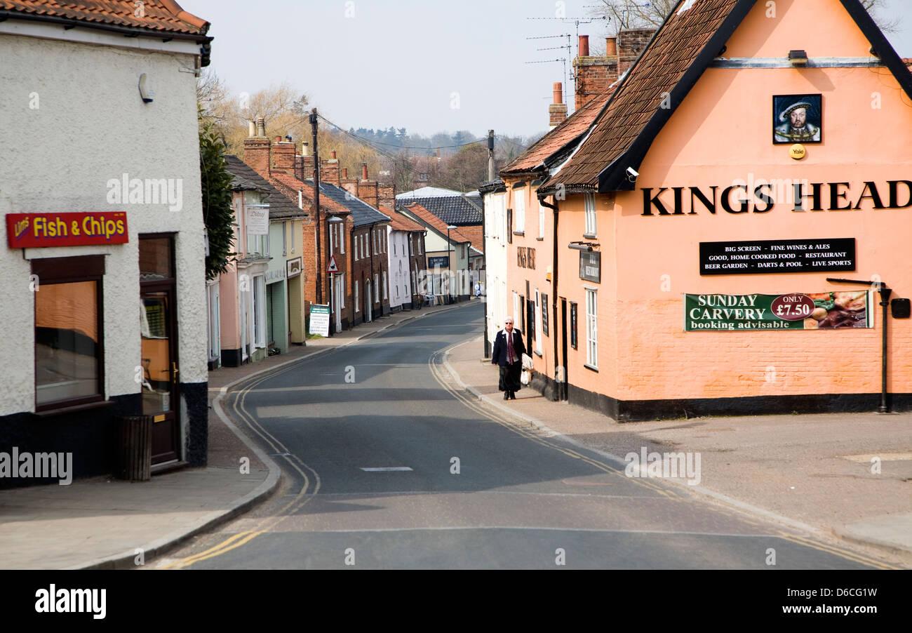 Village pub and street Loddon, Norfolk, England - Stock Image