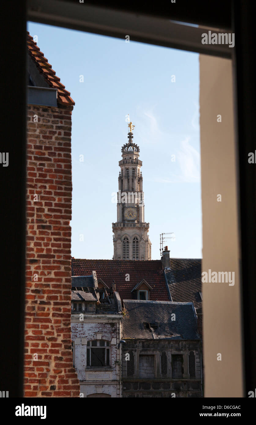 View through a window to the Arras Belfry in northern France on the western front. - Stock Image