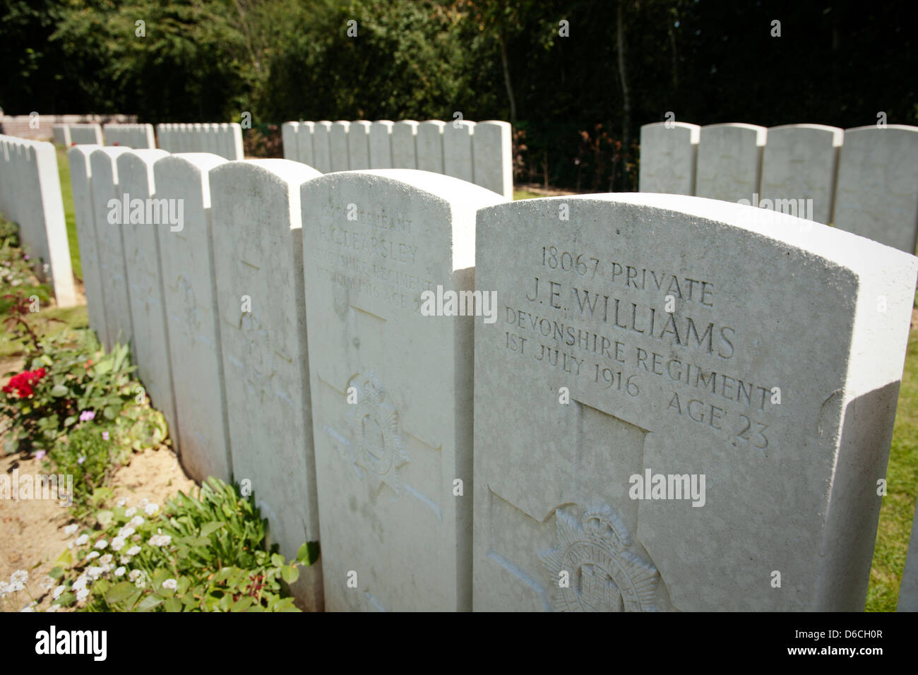 Headstones at the Devonshire cemetery in Mametz, northern France Stock Photo