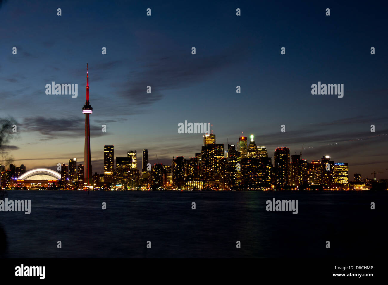 Toronto skyline at dusk viewed from the Harbour Islands - Stock Image