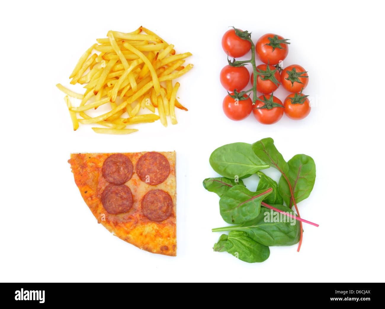 Good bad food choices - Stock Image