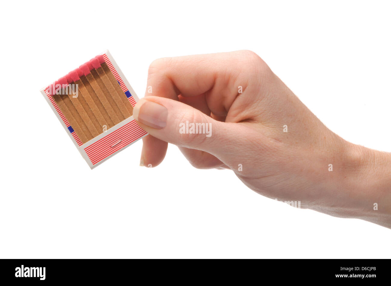 hand holding book of matches - Stock Image