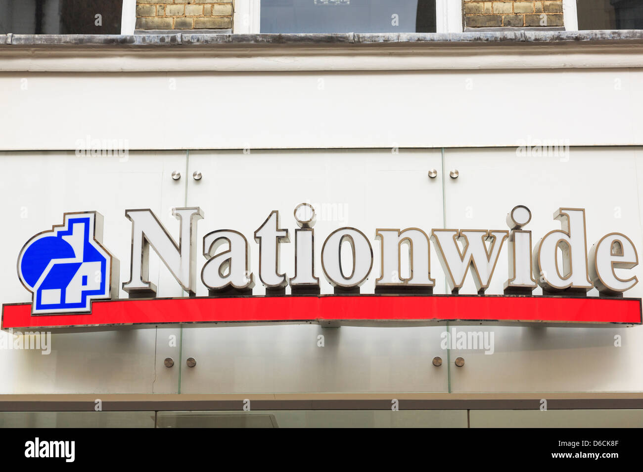 Nationwide Building Society name sign and logo above a bank branch. England, UK, Britain - Stock Image