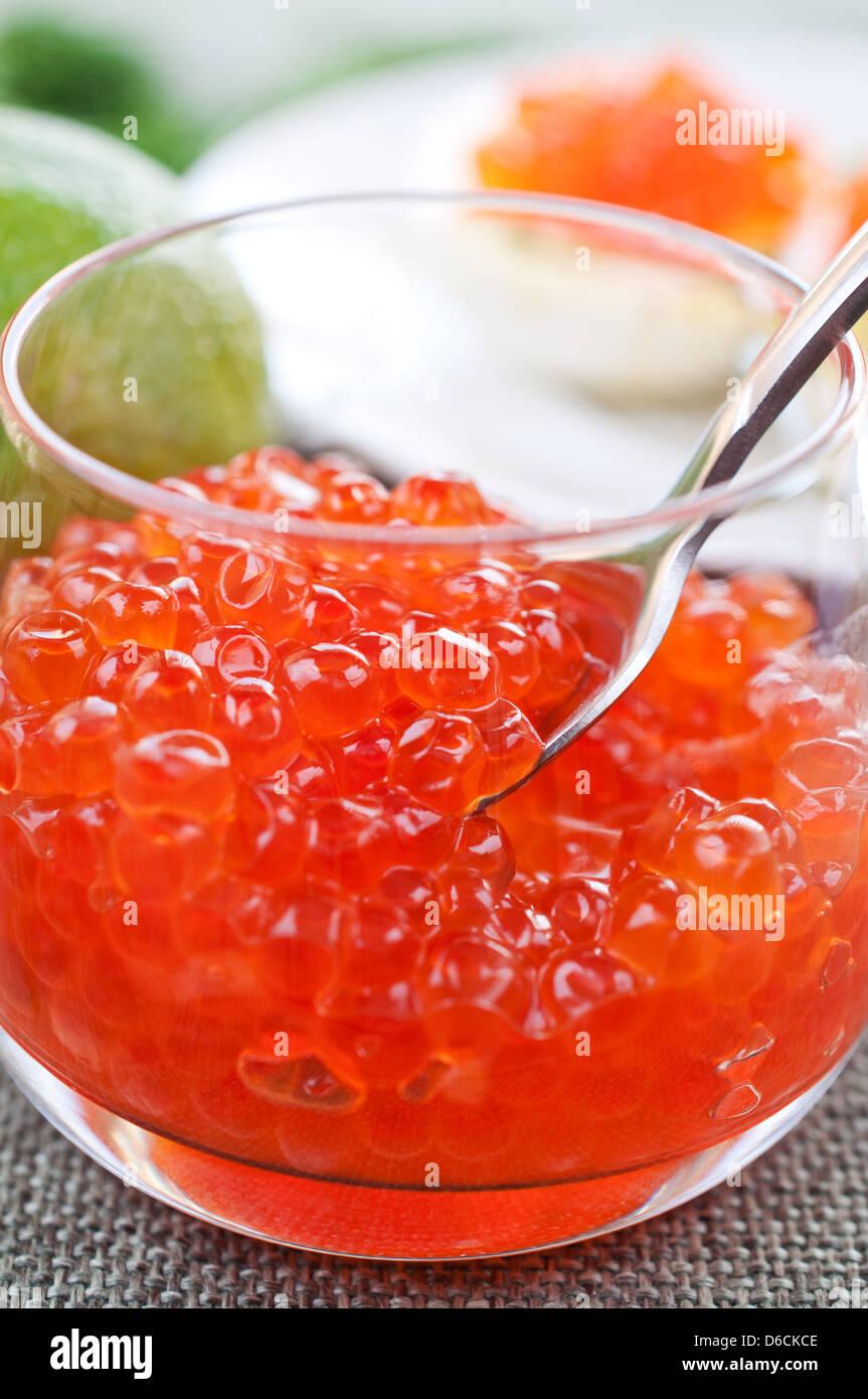 Salmon caviar in glasses - Stock Image
