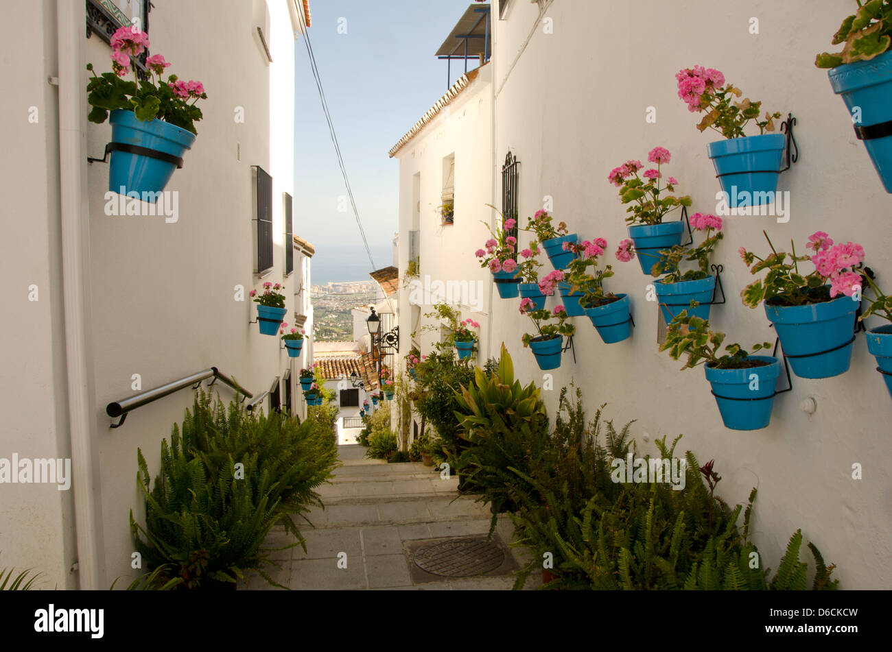 Hanging flower pots on the wall in the white village of mijas pueblo hanging flower pots on the wall in the white village of mijas pueblo in malaga costa del sol andalusia spain mightylinksfo