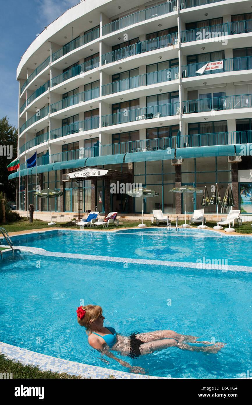Sunny beach bulgaria woman swimming stock photos sunny - Sunny beach pools ...