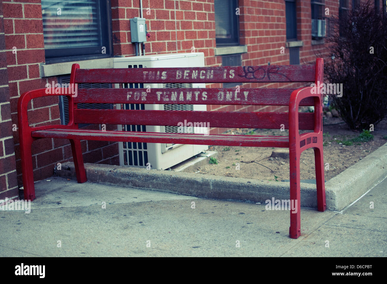 Tenants only bench - Stock Image