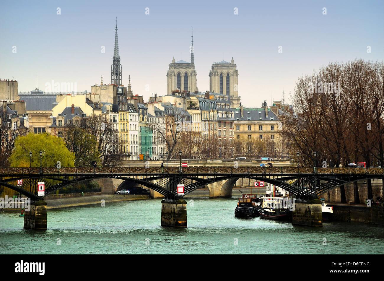Ile De La Cite  and the River Seine Paris France - Stock Image