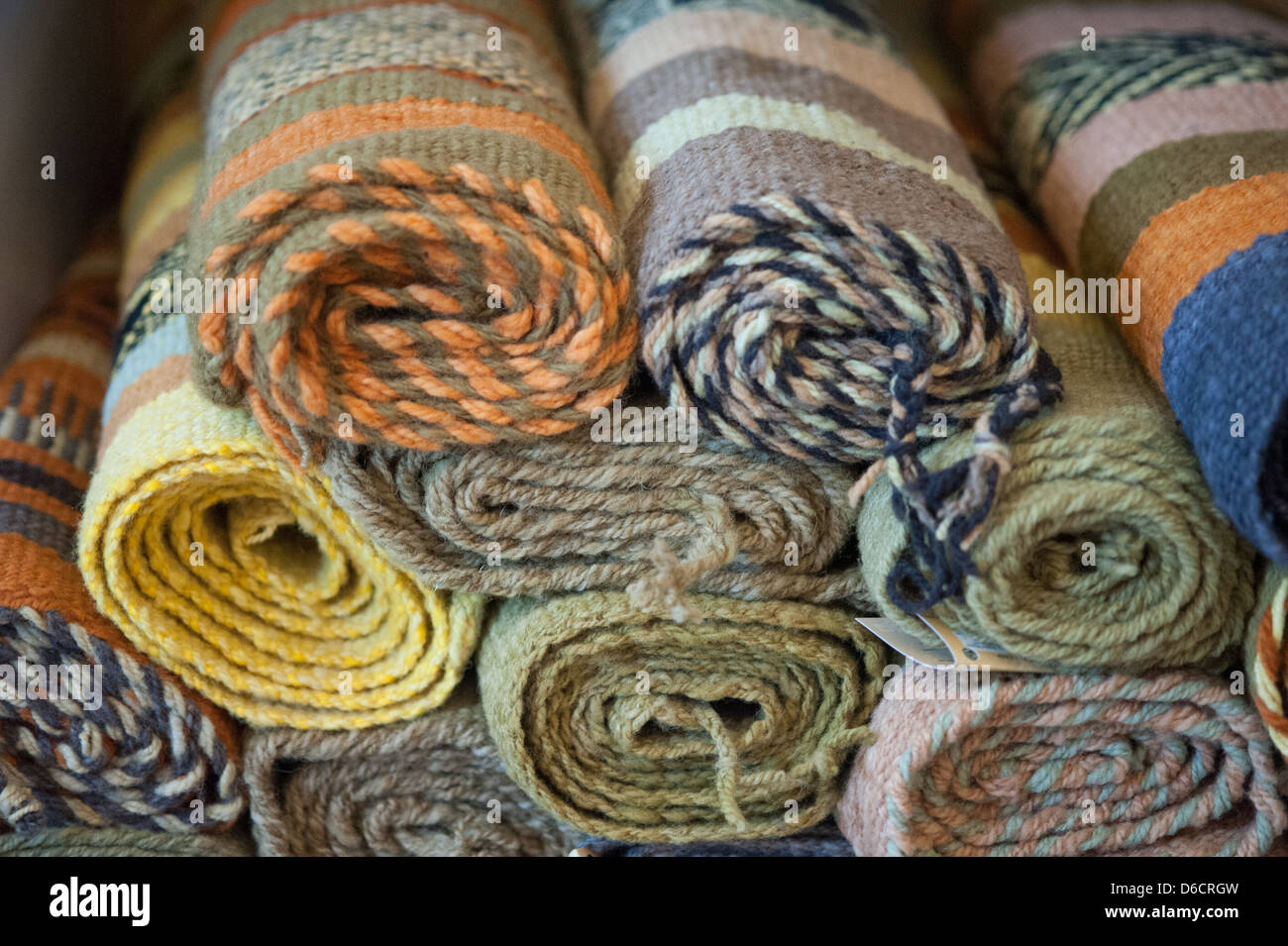 Weavings and textiles made entirely by hand by Mapuche women in Temuco Chile - Stock Image