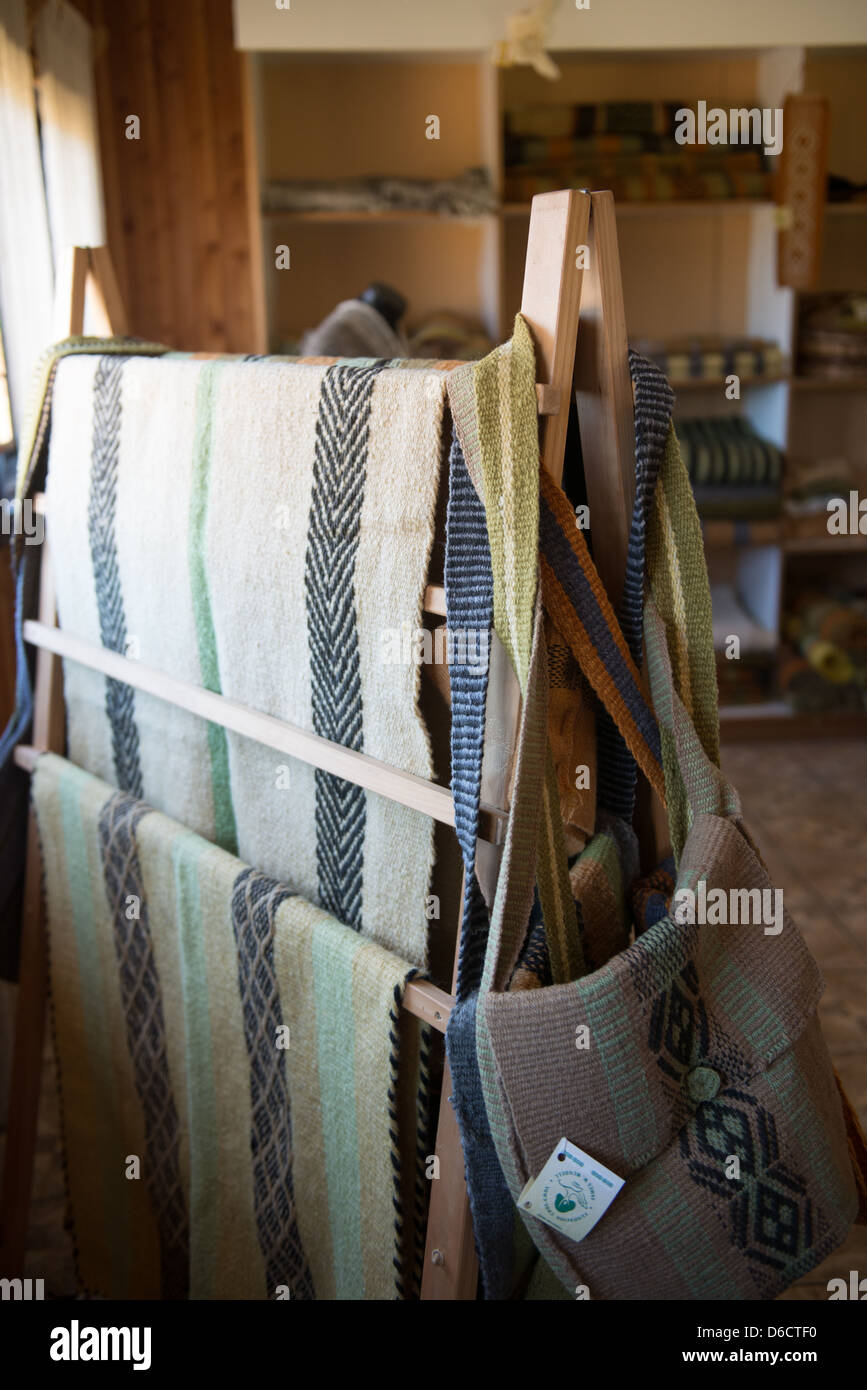 Weavings and textiles made entirely by hand by Mapuche women in Temuco Chile Stock Photo