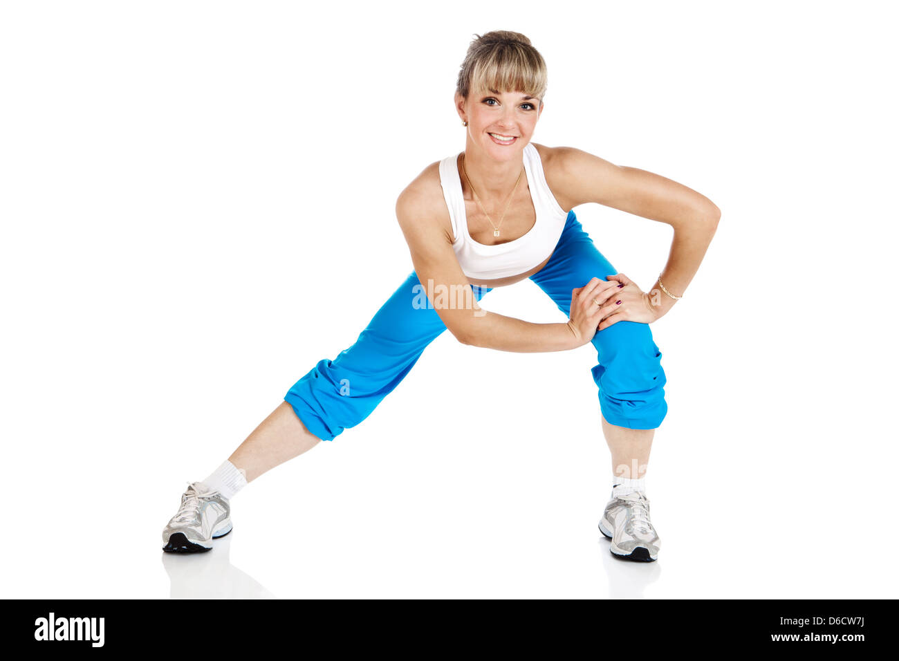 attractive woman in the gymnastic pose - Stock Image