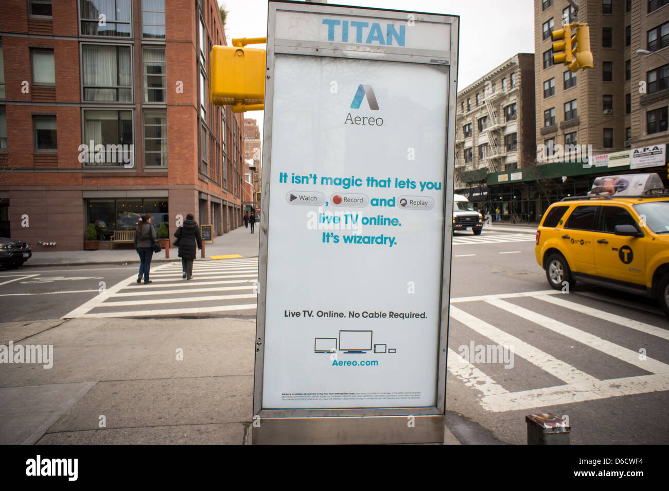 Advertising for the Aereo internet television service is seen on a telephone kiosk in the Chelsea neighborhood of - Stock Image