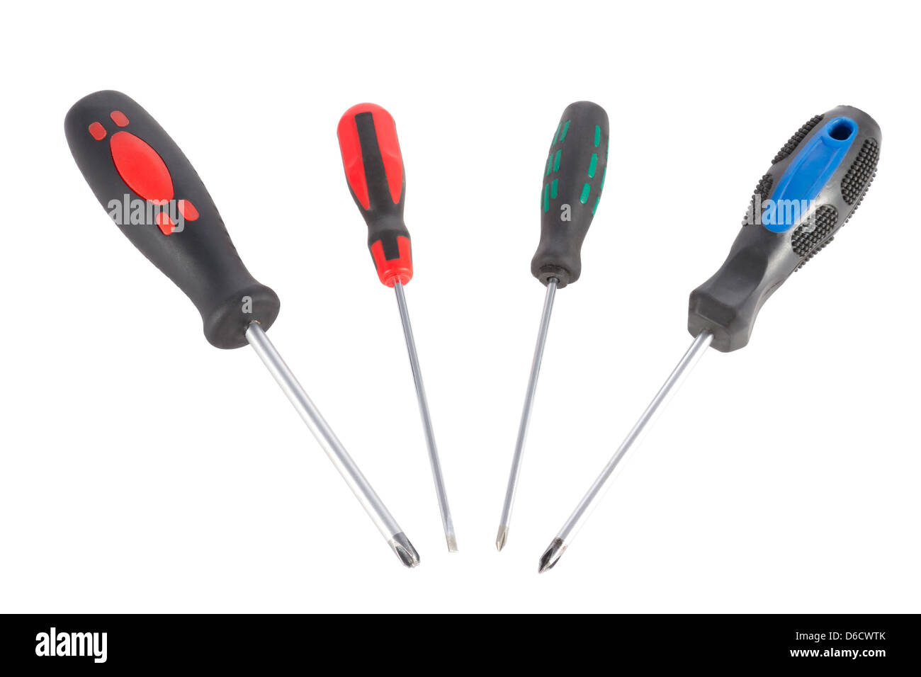 a set of screwdrivers on a white background - Stock Image