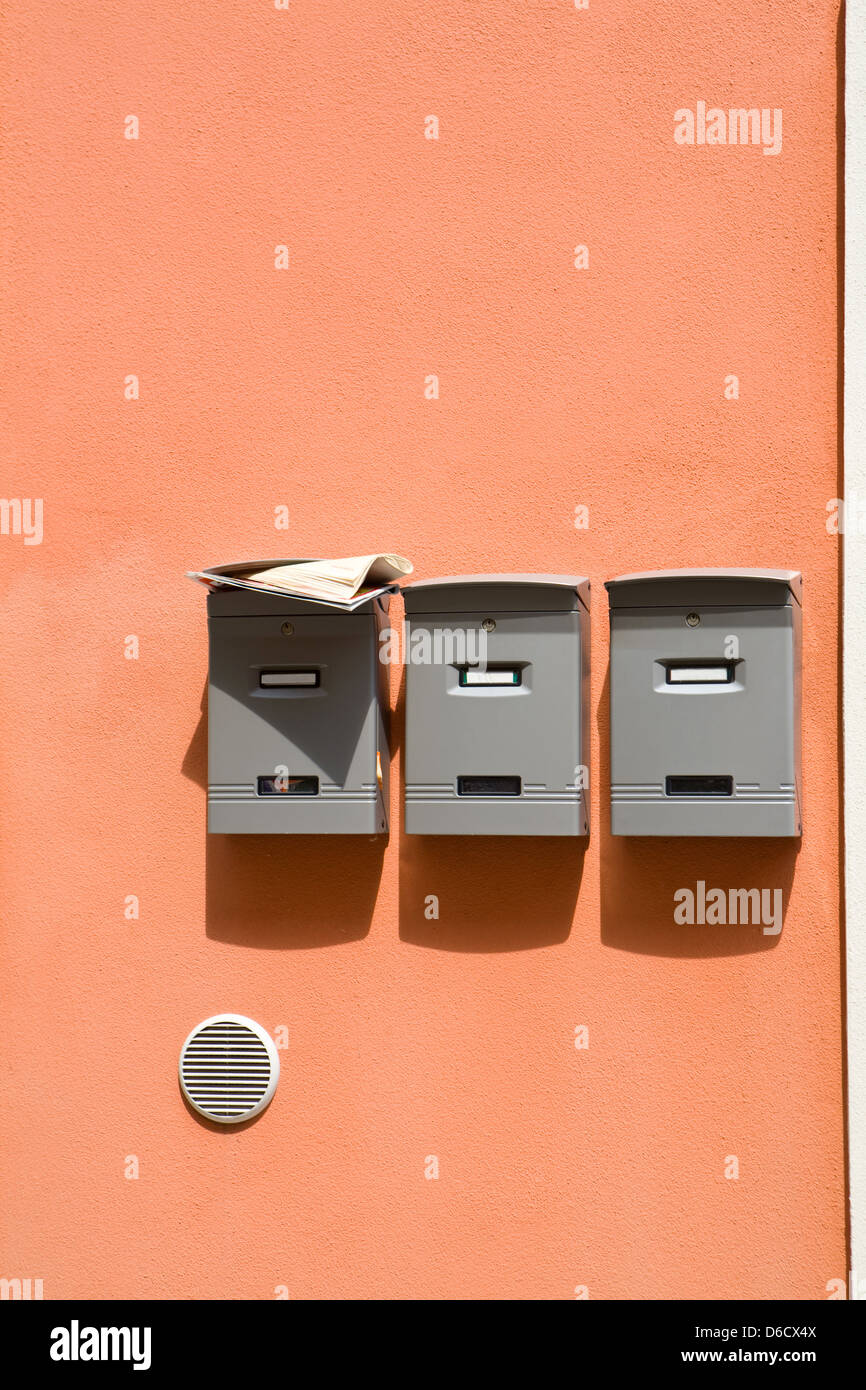 Three mailboxes - Stock Image