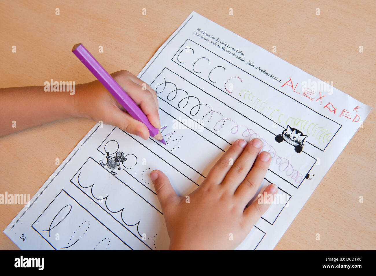 Berlin, Germany, a task list for preschool daycare - Stock Image