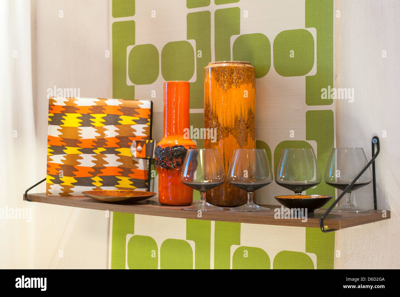 Berlin, Germany, Retro Furnishings in the style of the late 60s and 70s - Stock Image