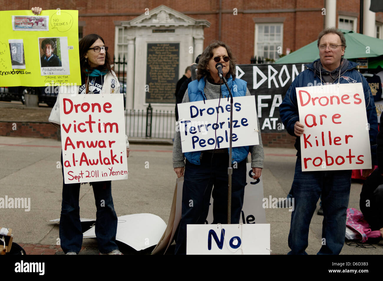 People demonstrating against US Drones - Stock Image