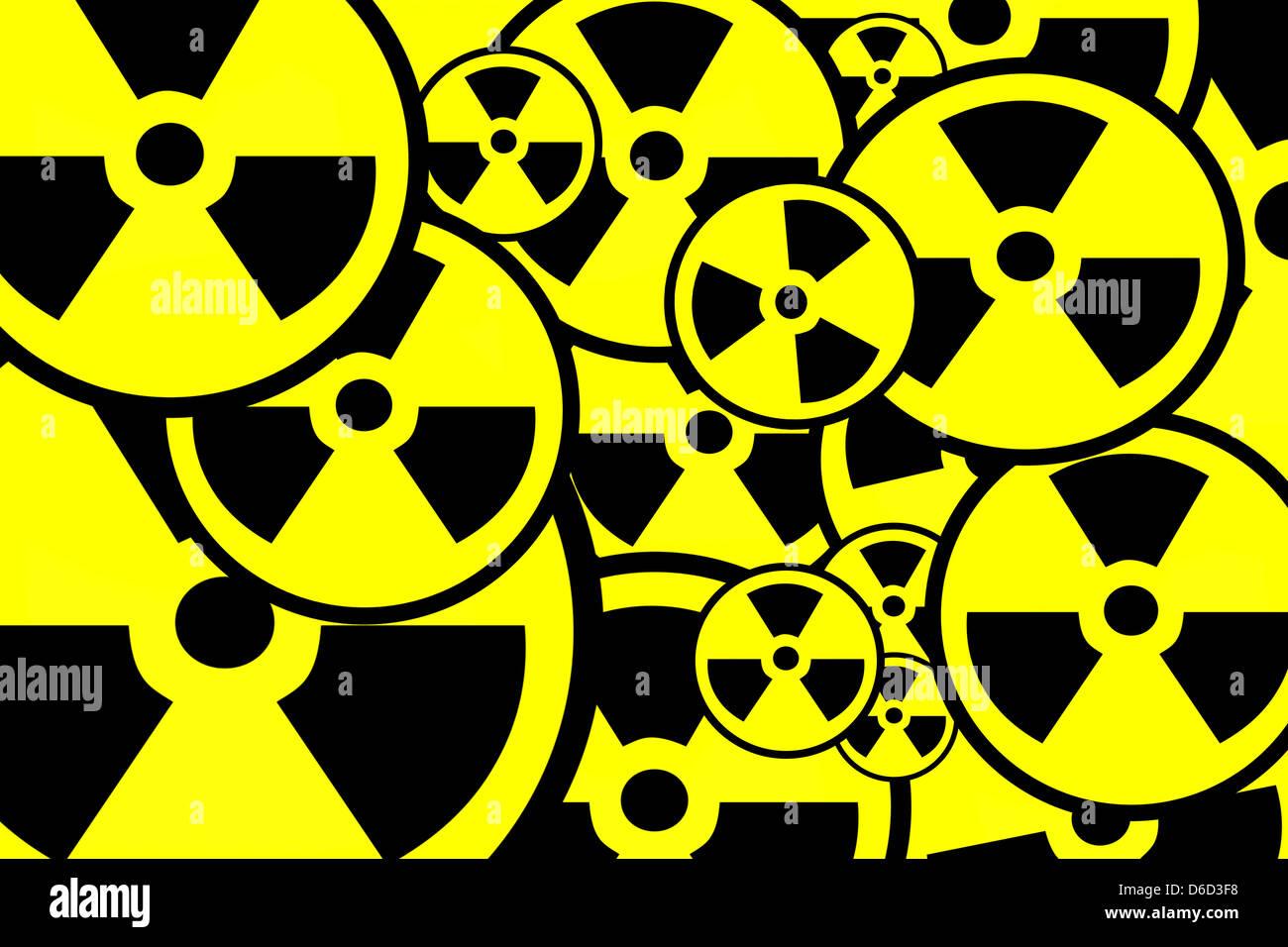 Radiation sign background - Stock Image
