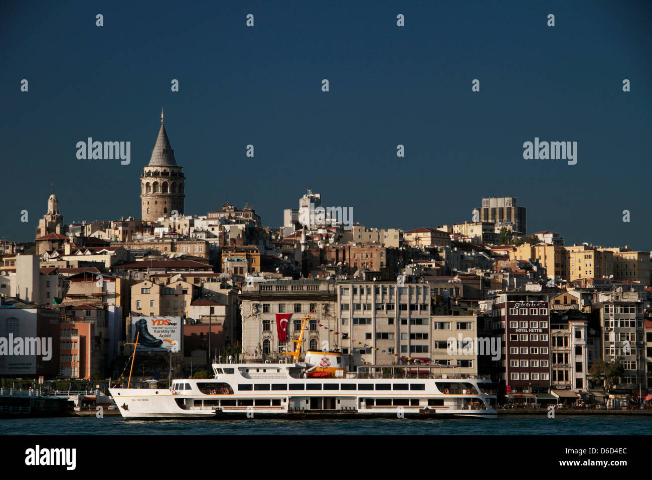 Galata toer from the Golden horn - Stock Image