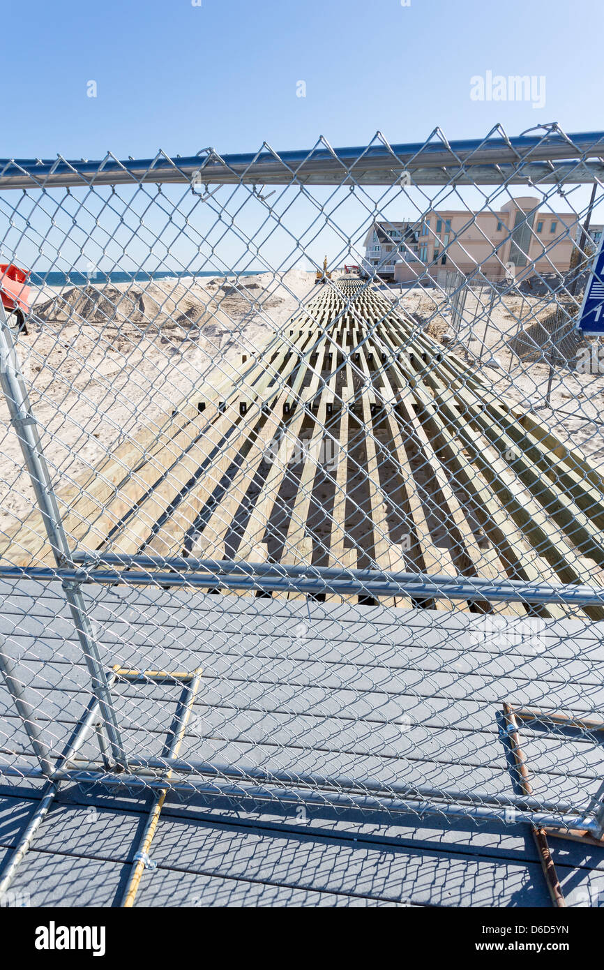 Fenced off boardwalk in Point Pleasant, New Jersey, being rebuild after the Hurricane Sandy destruction - Stock Image