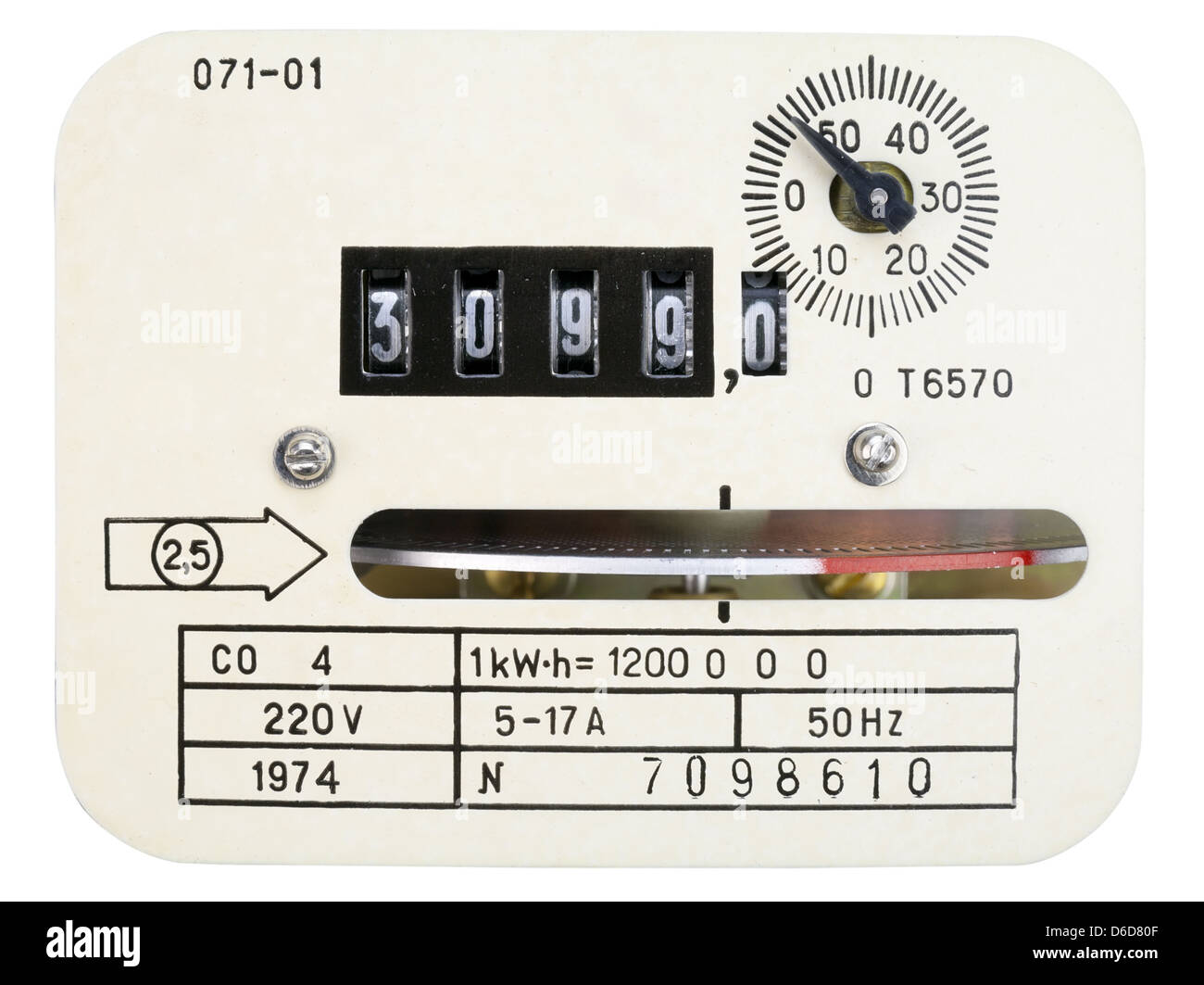 Retro measuring instrument of electric energy - Stock Image