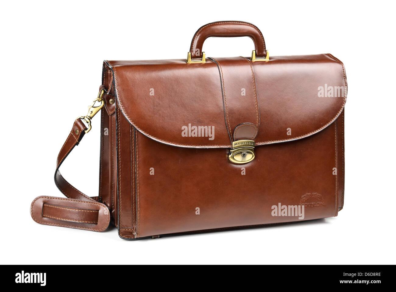 Leather Briefcase Portfolio Brown, with Shoulder Strap - Stock Image