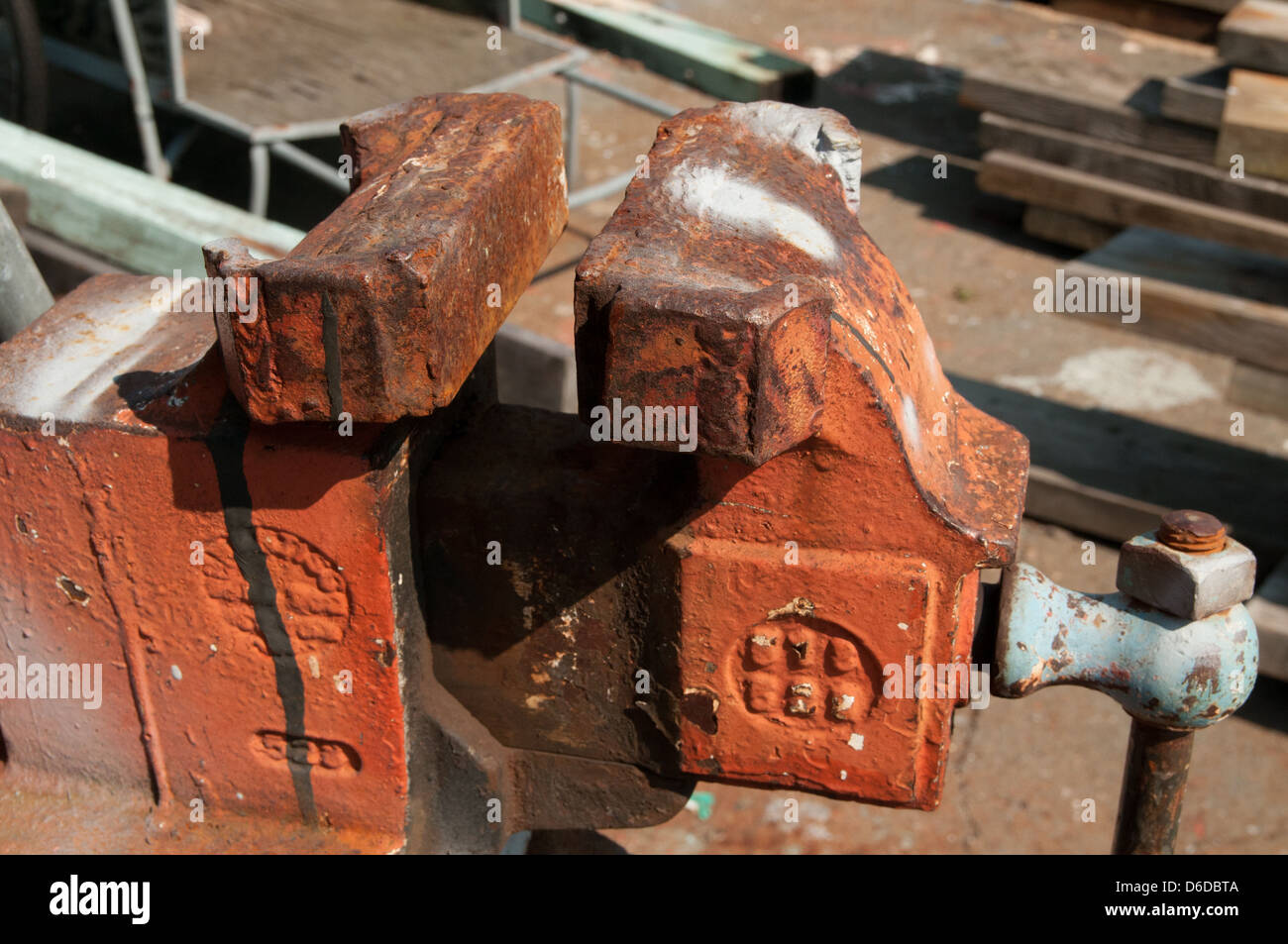 Rusty old tools on a pier in Gloucester, Massachusetts - Stock Image