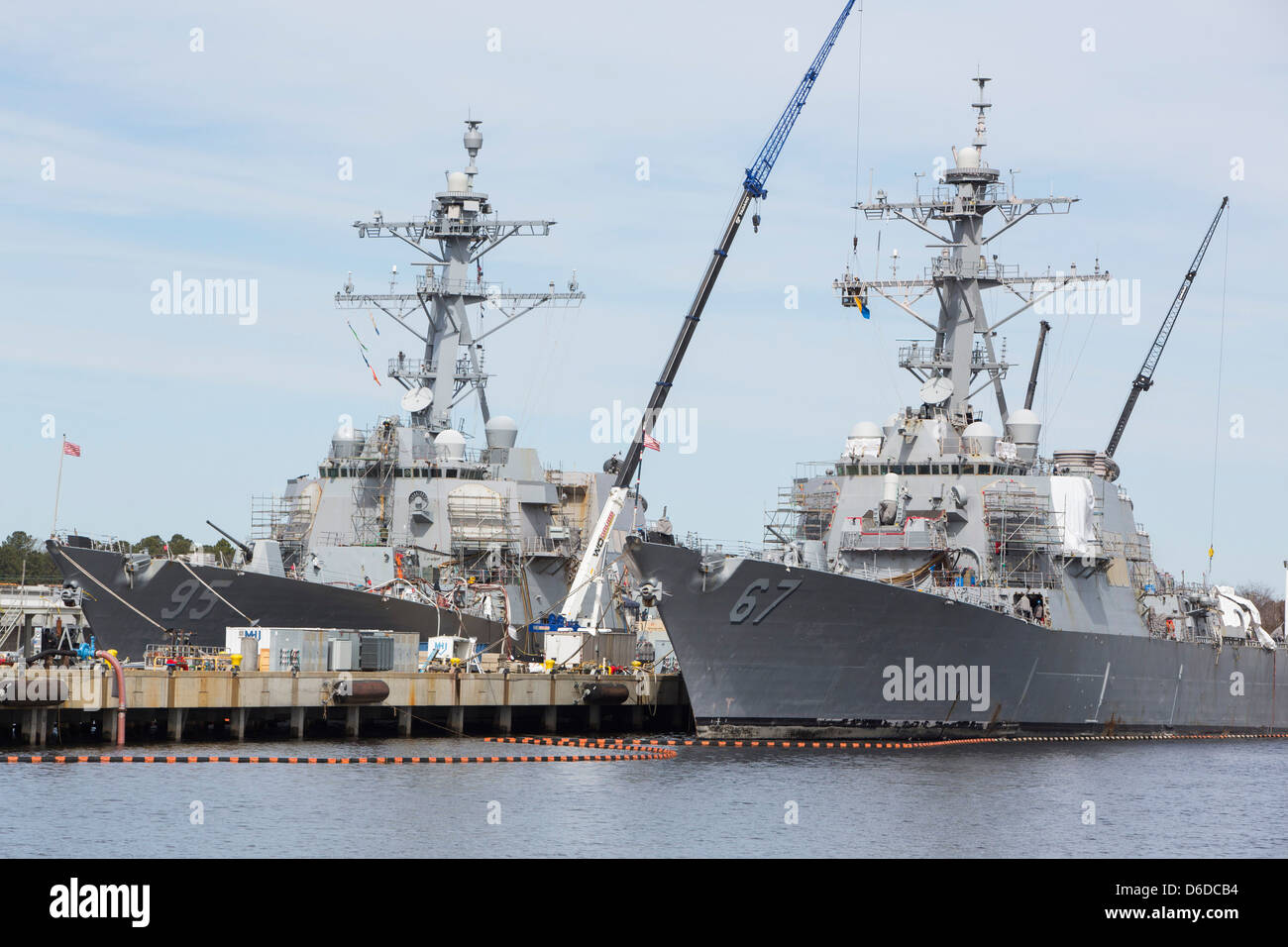 The Arleigh Burke Class destroyer USS Cole (DDG-67) in port at Naval Station Norfolk. - Stock Image