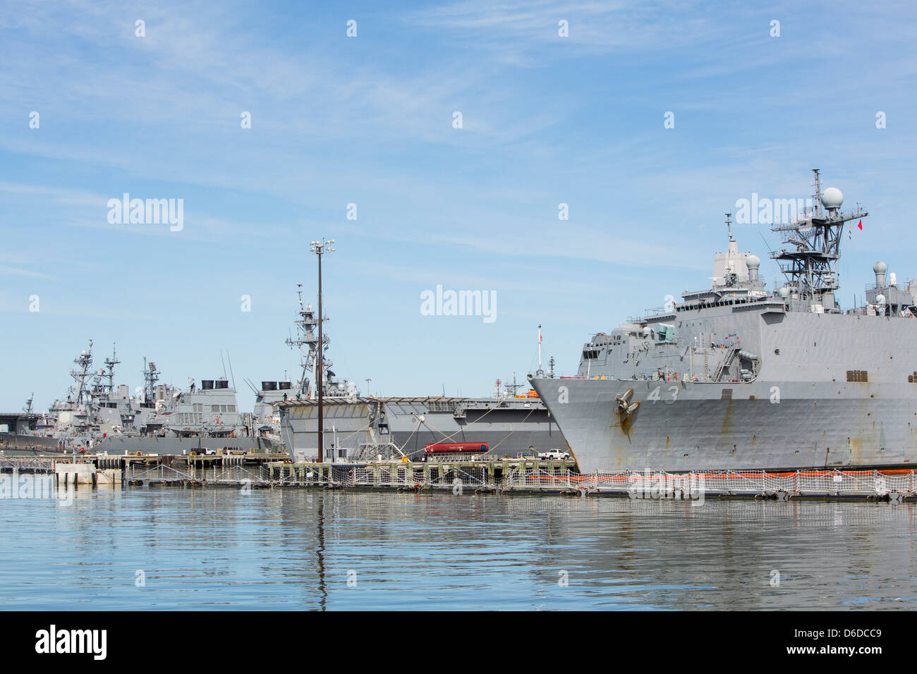 United States Navy ships in port at Naval Station Norfolk. - Stock Image