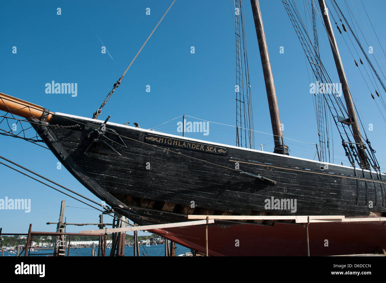 Schooner HIghlander Sea is 'on the ways' for repairs at the Gloucester Marine Railways, Gloucester, MA - Stock Image