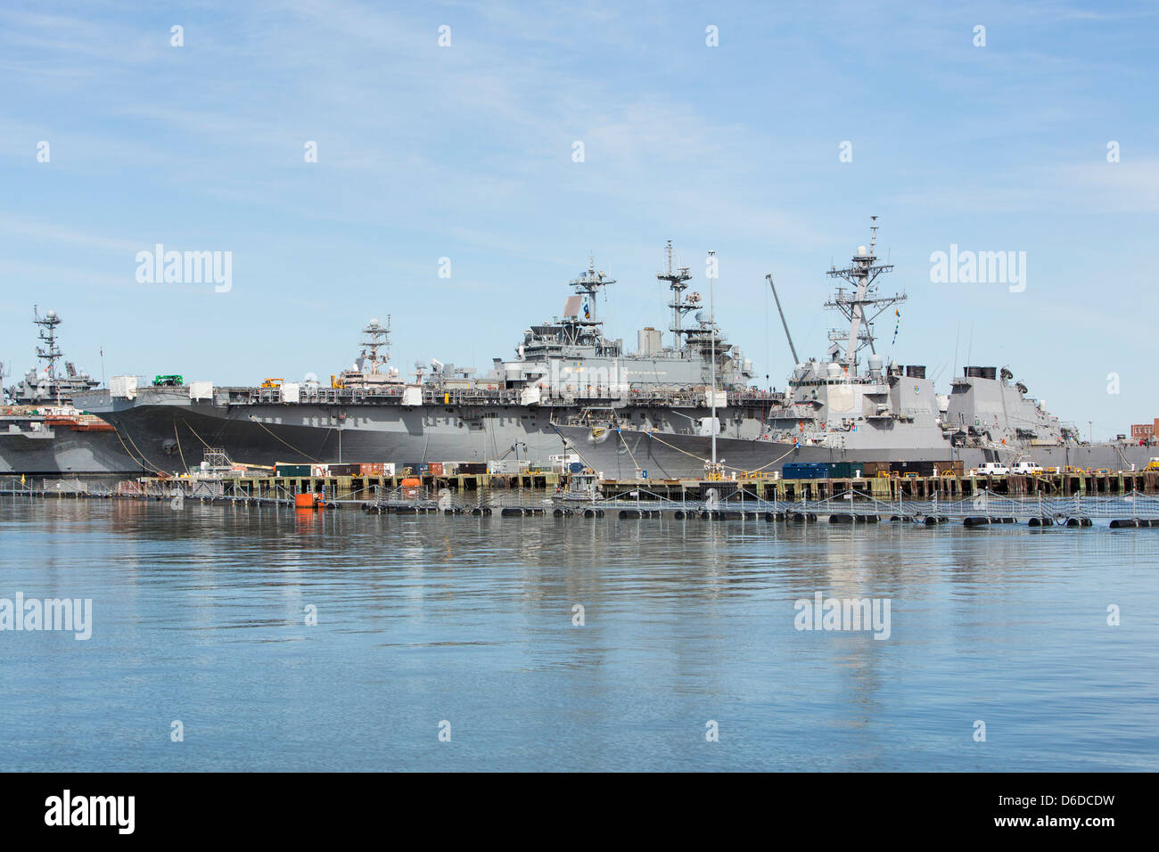 United States Navy ships in port at Naval Station Norfolk. Stock Photo